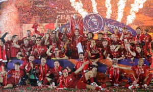 Liverpool celebrate winning the 2019-20 Premier League title