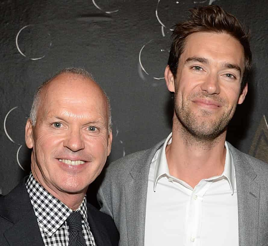 Actor Michael Keaton with his son, songwriter Sean Douglas, in 2015