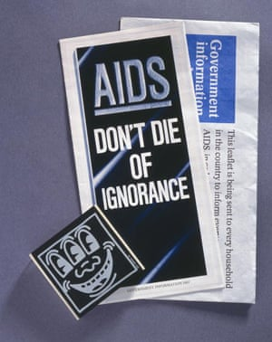 Pamphlet and condom box produced to raise Aids awareness in 1980s