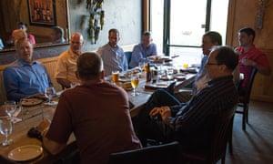 John Marinaro, Robert James, Kyle Walker, Ed Kilbane, Rob Ernst, Jake Stabel, Jim Miller and Florian Paul at Wood & Wine restaurant in Avon, Ohio.