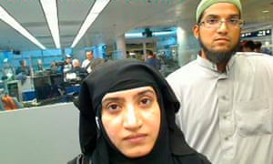 Tashfeen Malik and Syed Farook caught on camera at O'Hare airport in Chicago in2014. Eighteen months later they killed 14 people in San Bernardino, California