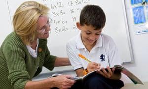 Junior school boy working on maths tables