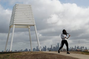 Melbourne residents exercise at Point Ormond lookout in Elwood on Monday.