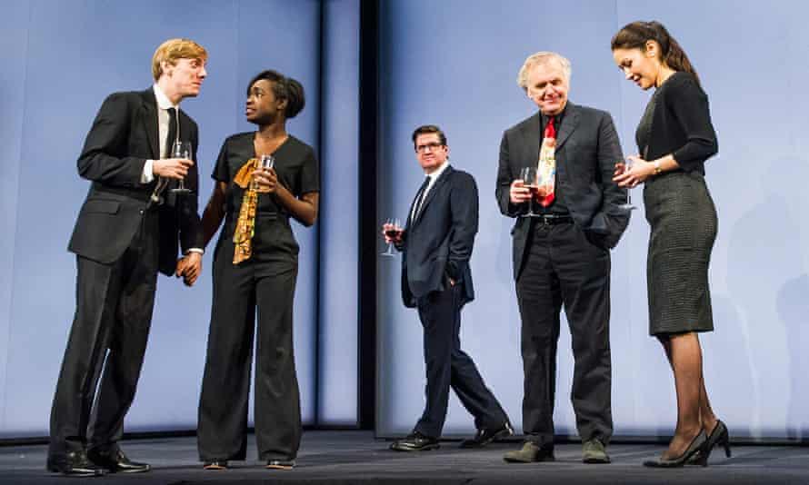 Joshua James, Madeline Appiah, Stuart McQuarrie, Alan Williams and Eleanor Matsuura in Caryl Churchill's Here We Go.