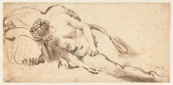 Rembrandt van Rijn, Nude Woman Resting on a Cushion, circa 1658.
