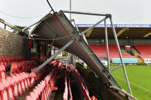 The collapsed roof at Turners Cross stadium