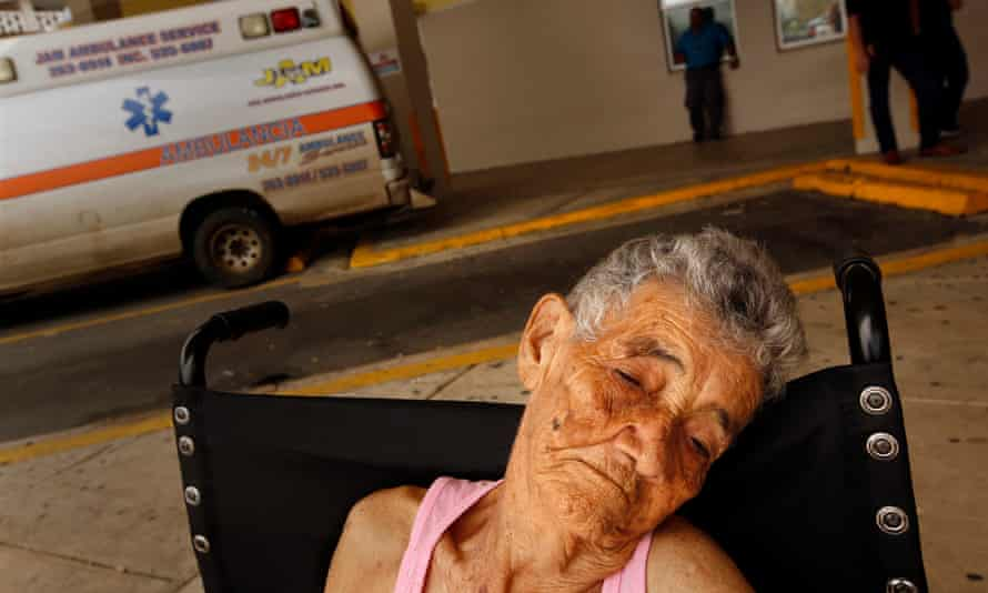 Bernadina Ortiz, age 89, is released from the hospital in San Juan after a three day stay. Her family member says, 'Tell Trump we need more money to help with repairs.'