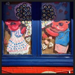 A Japanese restaurant shows two loving hogs, or razorbacks, in the lead-up to Valentine's Day