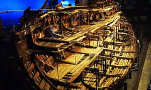 The remains of the Mary Rose  in the museum at Portsmouth.