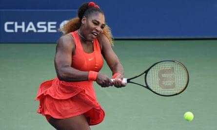 Serena Williams during her battling 2-6, 6-2, 6-2 win against Sloane Stephens