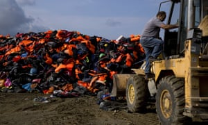Lifejackets and dinghies  in Lesbos, Greece