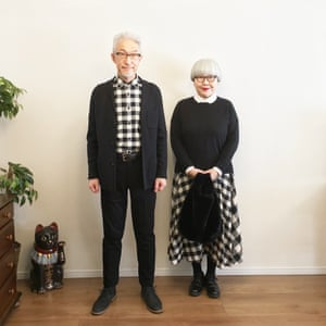 """Bon had the flu, but she's back now! I hope everyone out there is feeling healthy. Today's style is the long-missed monochrome block check pattern! We got both Burberry coats off Yahoo Auctions. Pon's bifocals are from the recent JINS sale! So are Bon's."""