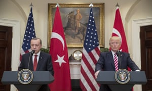 Donald Trump and Recep Tayyip Erdoğan deliver joint statements at the White House on Tuesday in Washington DC.