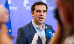 Greek Prime Minister Alexis Tsipras speaks with the media after a meeting in Brussels on Monday.