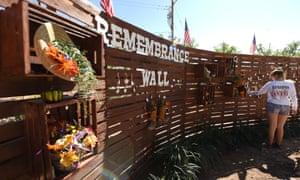 Volunteers build a community healing garden in Las Vegas.