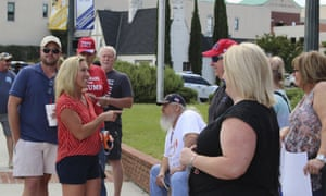US House district 14 candidate Marjorie Taylor Greene talks with people at a Back the Blue Rally in front of Rome city hall on 15 June 2020 in Rome, Georgia.