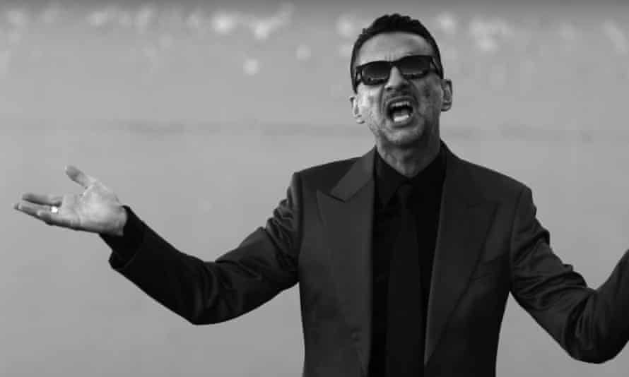 Dave Gahan of Depeche Mode in a still from the Where's the Revolution promo video