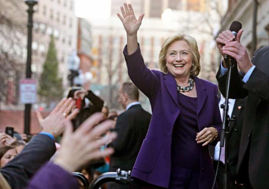Hillary Clinton at a rally at Faneuil Hall, Boston.