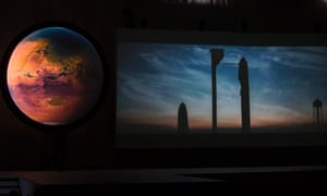 A shot of a video about the Interplanetary Transport System, which aims to reach Mars with the first human crew in history.