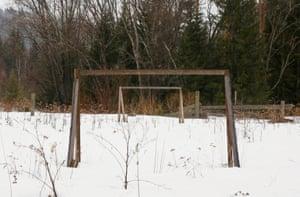 Self-made goalposts stand on a pitch in Verkhnyaya Biryusa village, located in the Taiga area near the Siberian city of Krasnoyarsk