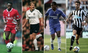 Liverpool's Mark Walters in March 1995, Jurgen Klinsmann of Tottenham Hotspur in January 1998, Didier Drogba of Chelsea in July 2007 and Newcastle United's Joselu in August 2017.