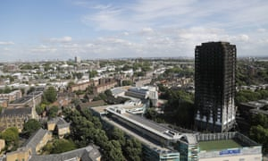 Scorched facade of Grenfell Tower