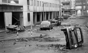 A street in Tottenham after the 1985 riot.