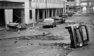 A street in Tottenham, north London, following the Broadwater Farm riots, October 1985.