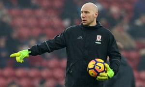 Brad Guzan is currently stewing on Middlesbrough's bench.