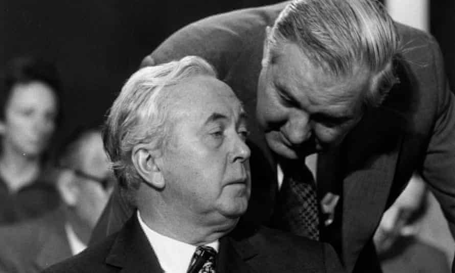 Harold Wilson with James Callaghan at the Labour party conference in Blackpool in 1975.