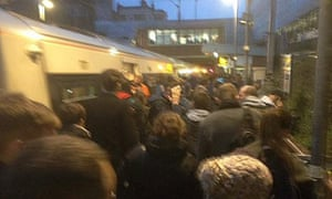 The scene at Dalston Kingsland, east London, after a commuter train was evacuated