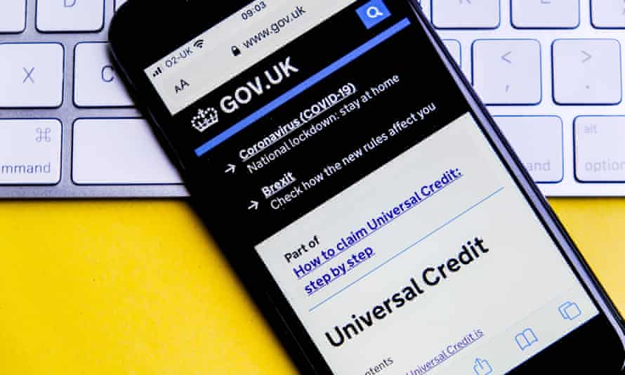 Smartphone showing government's universal credit homepage