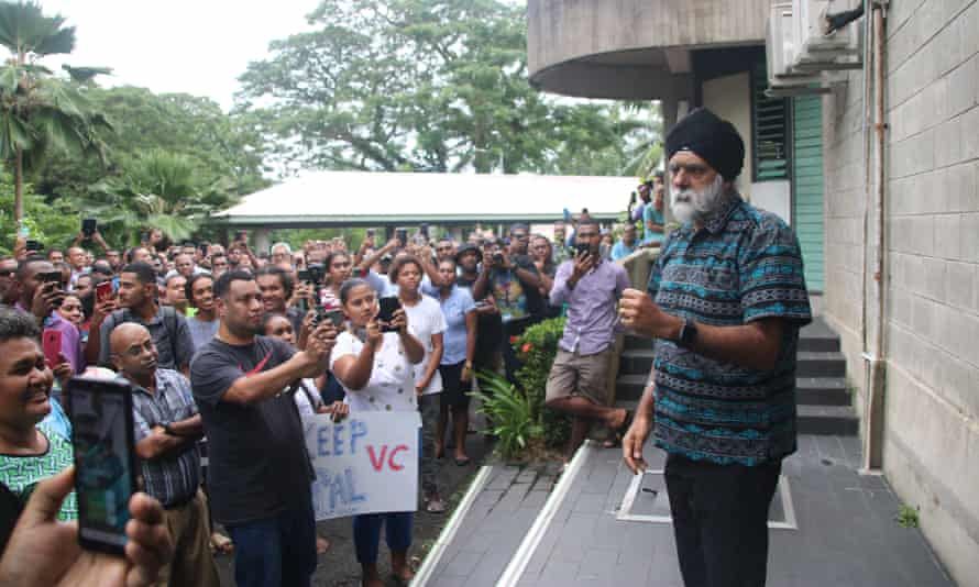 The University of the South Pacific vice-chancellor Professor Pal Ahluwalia addresses students