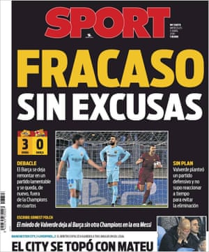The front page of Sport after Roma 3-0 Barcelona