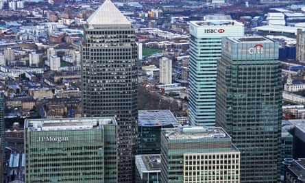 Aerial view of Canary Wharf, east London