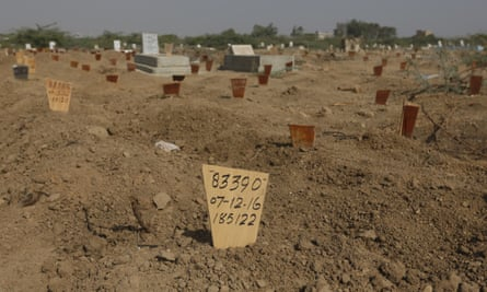 A wooden marker at the Edhi Foundation graveyard on the outskirts of Karach.