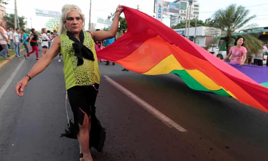 A participant takes part in a gay pride parade in Managua, Nicaragua June 28, 2016. REUTERS/Oswaldo Rivas