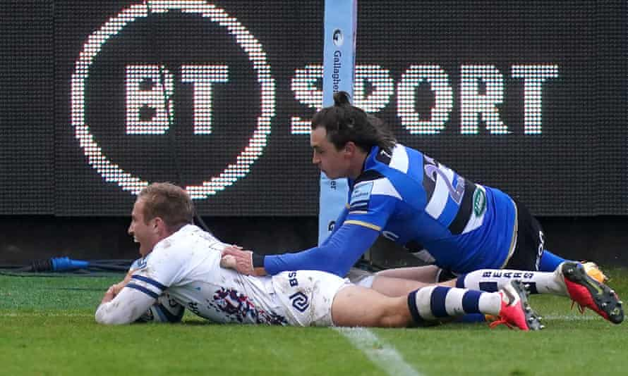 Bristol Bears' Max Malins grins as he slides over for his side's final try against Bath at the Rec.