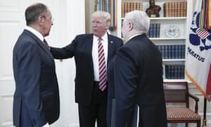 Russia's foreign minister Sergei Lavrov (left), with Donald Trump and Russia's ambassador to the US Sergei Kislyak in the Oval Office.