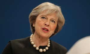 Theresa May speaking at the Conservative party conference in Birmingham