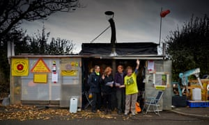 A protest camp outside Cuadrilla's fracking well at Little Plumpton, Lancashire.