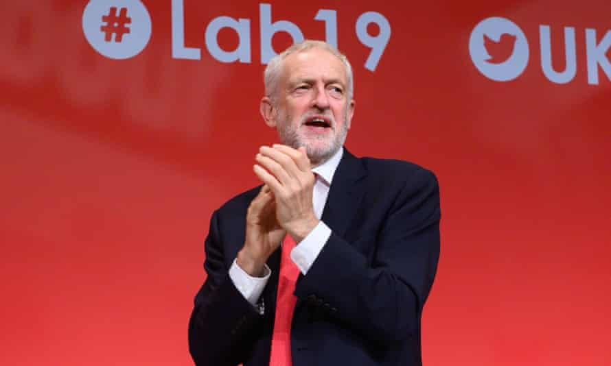 Jeremy Corbyn on stage during the second day of the Labour conference in Brighton