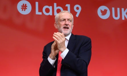 Jeremy Corbyn onstage at Labour party conference, Day 2, Brighton, UK , 22 Sep
