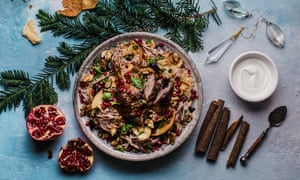 Duck fattee with chickpea pilaf, pomegranates, aubergines and walnuts.