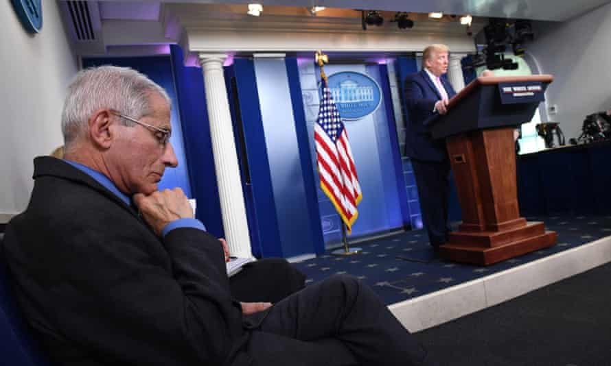 Trump coronavirus task force press briefing at the White House on 10 April.