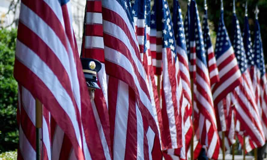 US flags at the White House last year.