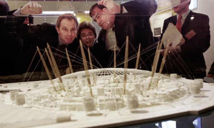 Tony Blair (left) views a model of the Millennium Dome