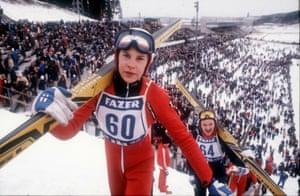 Matti Nykänen climbing to the ski jumping tower in Salpausselka, Lahti, Finland, in 1981