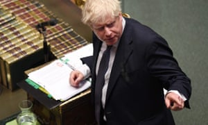 Boris Johnson gestures during prime minister's questions in the House of Commons, 23 October 2019.