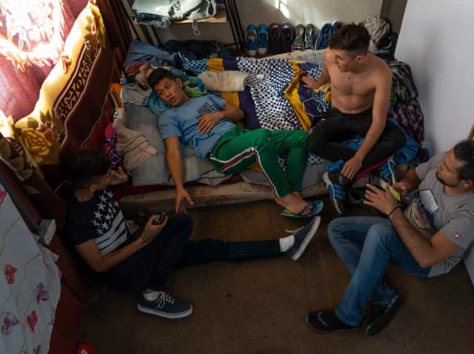 Nicaraguan students Carlos, 21, Moises, 19, Cristopher, 19, and Randol, 30, at the house they share in San José, Costa Rica. They participated in the protests in Managua in April 2018.
